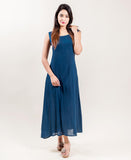 Grey And Blue sleeveless indo western dress with jacket online shopping