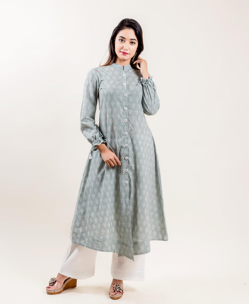 Cotton Printed Grey And White A-Line Suit Set
