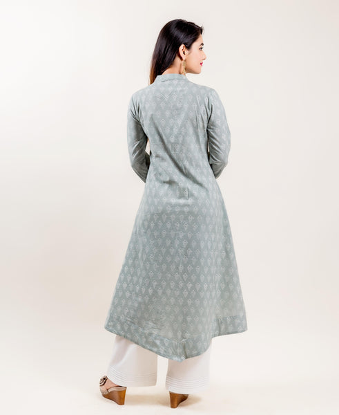 Mandarin Collar cotton printed kurti with long pants for women online