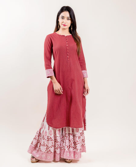 Kimono Collar Front Pleated Anarkali Style Kurta With Flared Palazzos