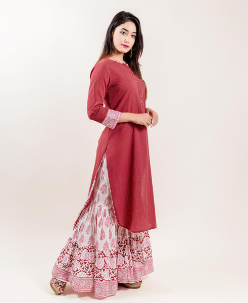 White And Maroon Quarter Sleeves Cotton kurti with Palazzos online for women