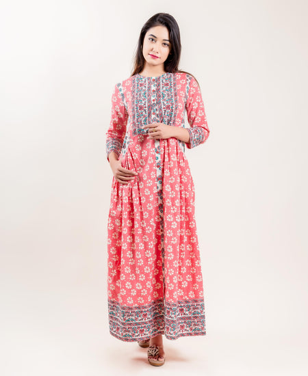 Rayon Bell Sleeved Indo Western Dress In Blue