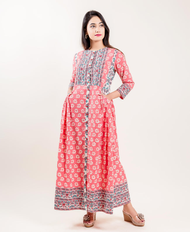 Cotton Indo Western Long Dress In Peach With Ivory And Blue Prints
