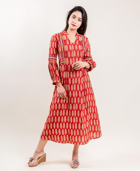 Embroidered Rayon Printed Long Rust Dress