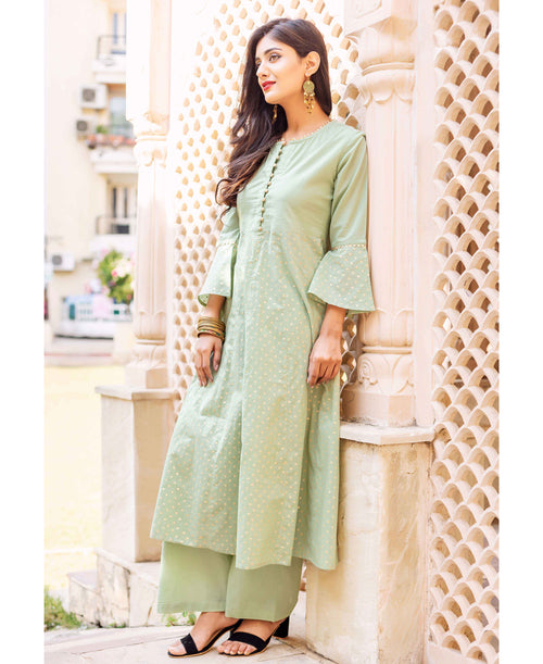 Mint Green Golden Hand Block Printed Kurta Set with Palazzo
