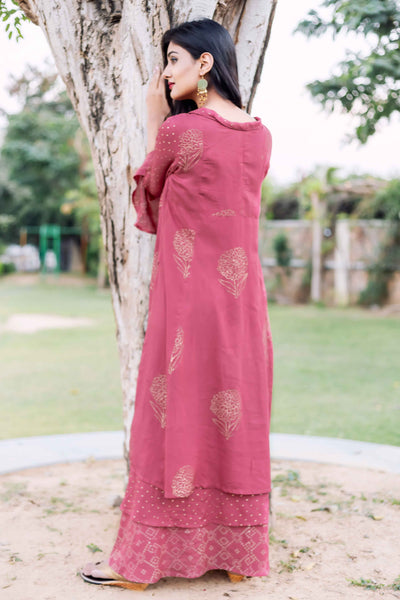 Rust Layered Hand Block Printed Long Dress