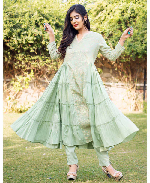 Mint Green and Golden Hand Block Printed Tiered Style Kurta Set