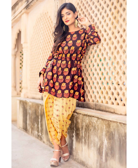 Black Cotton Printed Bell Sleeves Angrakha Dress with Chanderi Dupatta