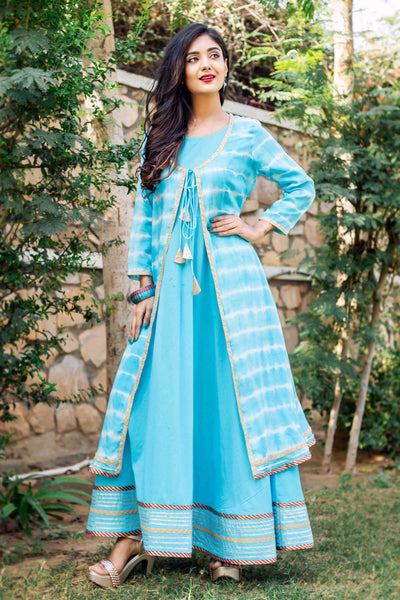 Double Layered Aqua Blue Tie and Dye Jacket Dress for Women Online