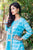Aqua Blue Tie and Dye Double Layered long designer Jacket Dresses