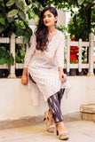 3/4 Sleeves White Cotton Suits with Pants Online for Women