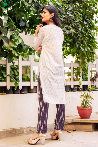 3/4 Sleeves White Cotton Kurti with Pants Online for Girls