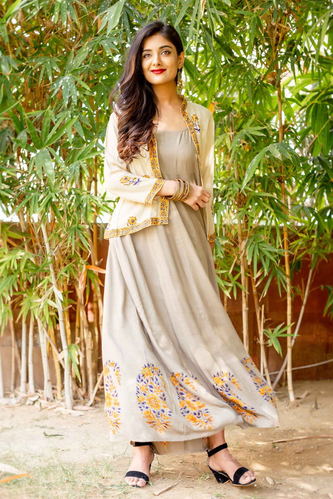 Hand Block Printed Beige Rayon Long Designer Gowns with Jacket Online