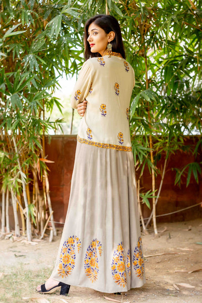 3/4 Sleeves Long Designer Hand Block Printed Dresses with Detachable Jacket