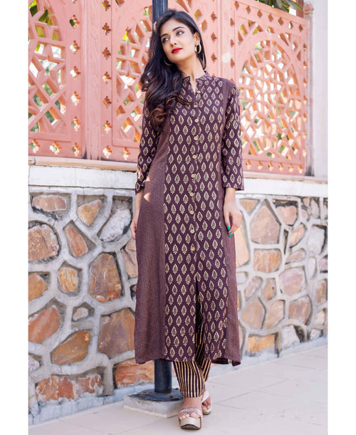 Stand Collar Block Printed Cotton Golden/Brown Long Kurta Set