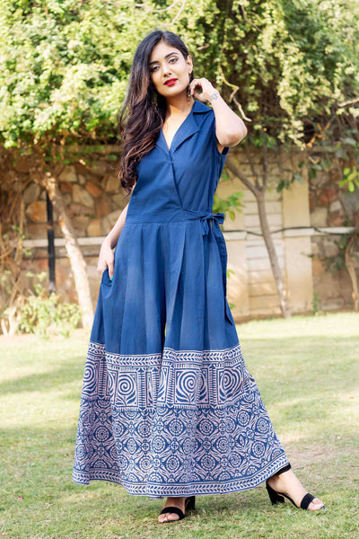 Block Printed Indigo Blue and Pink Sleeveless Jumpsuit With Jacket for women