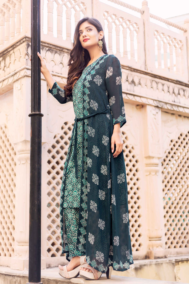 3 Piece Block Printed Sleeveless Kurti Set with Jacket for women online