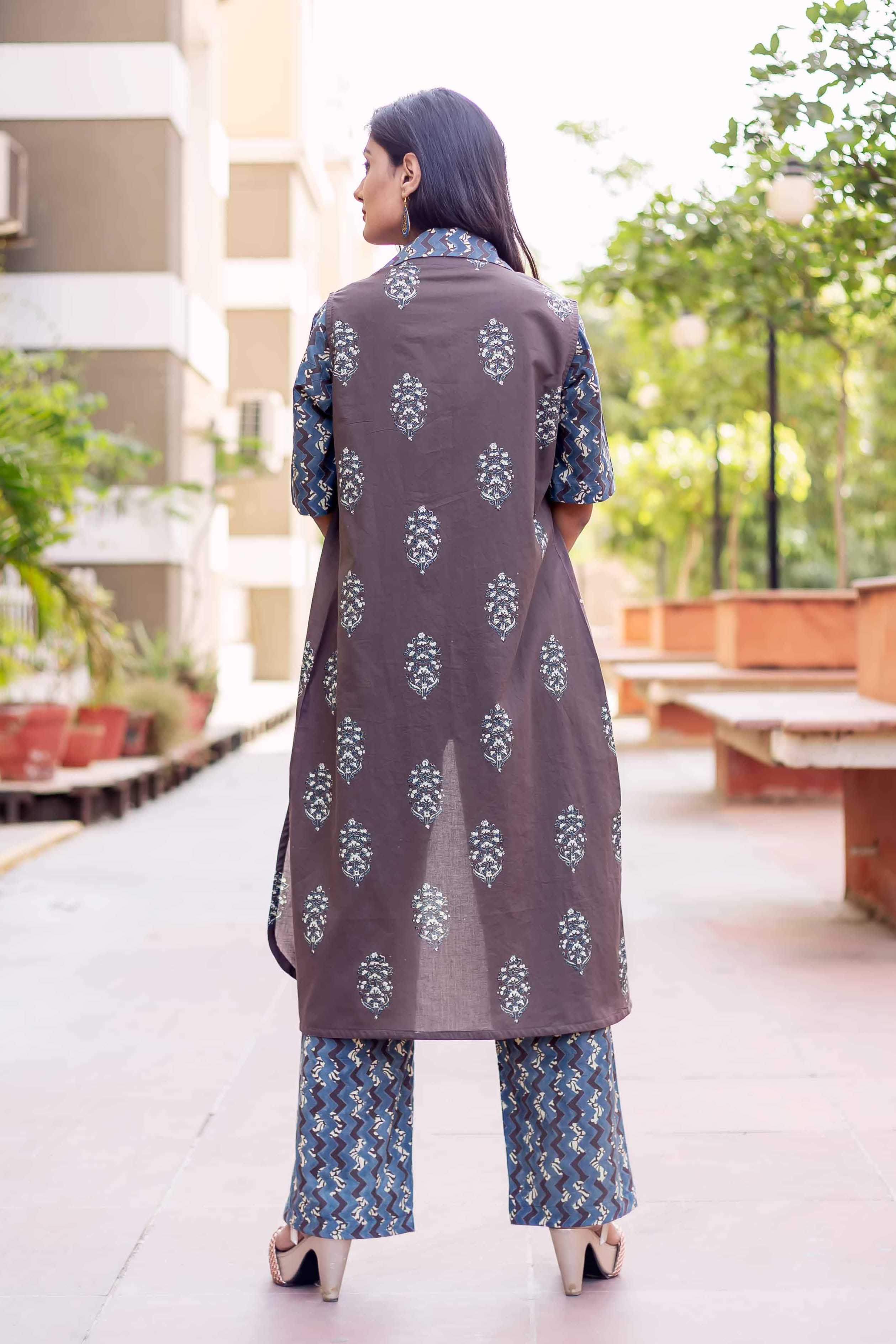 Hand Block Printed Long Jumpsuit with Sleeveless Jacket for Women Online