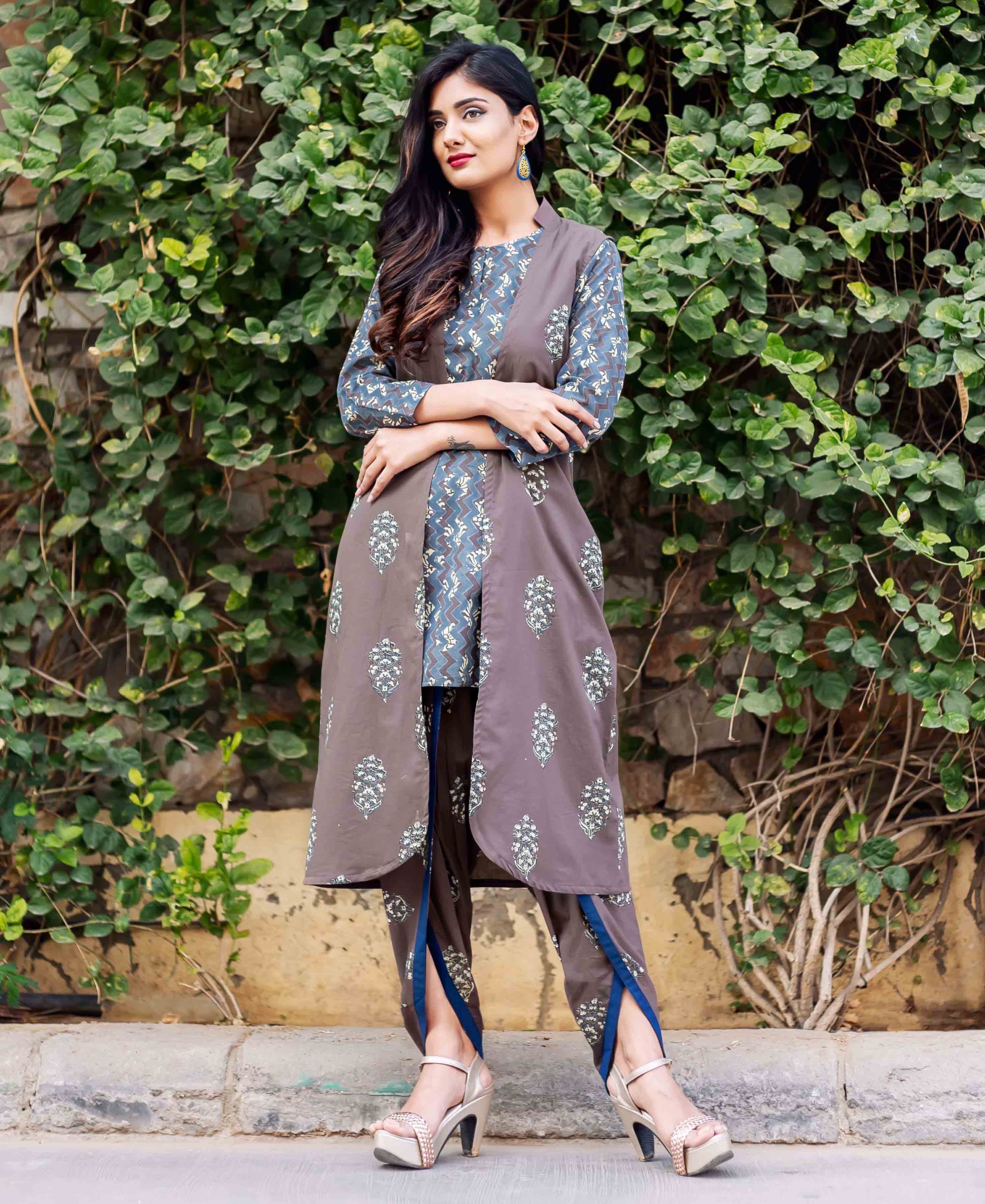 Mystique Blue and Brown Hand Block Printed Kurta Set with Jacket