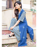 Indigo Print Hand Block Printed 2 Piece Cotton Jumpsuit with Jacket