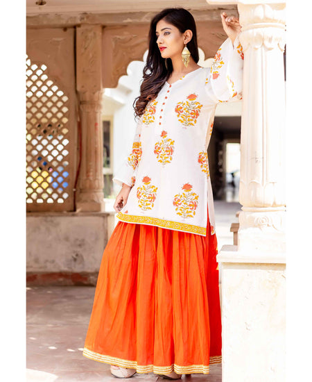 Scoop Neck Straight Long Kurta With Flared Polka Dot Skirt