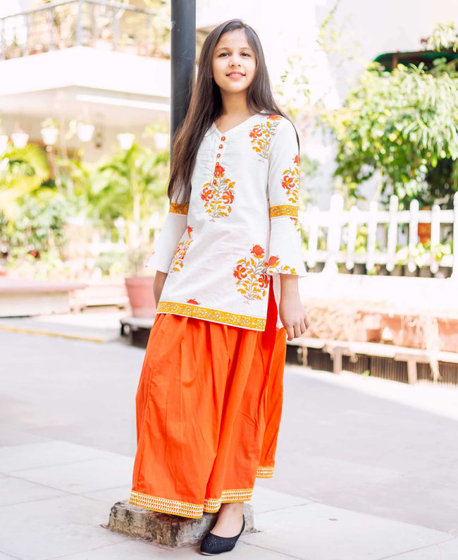 Block Printed Straight Kurta with Solid Skirt For Baby Girl