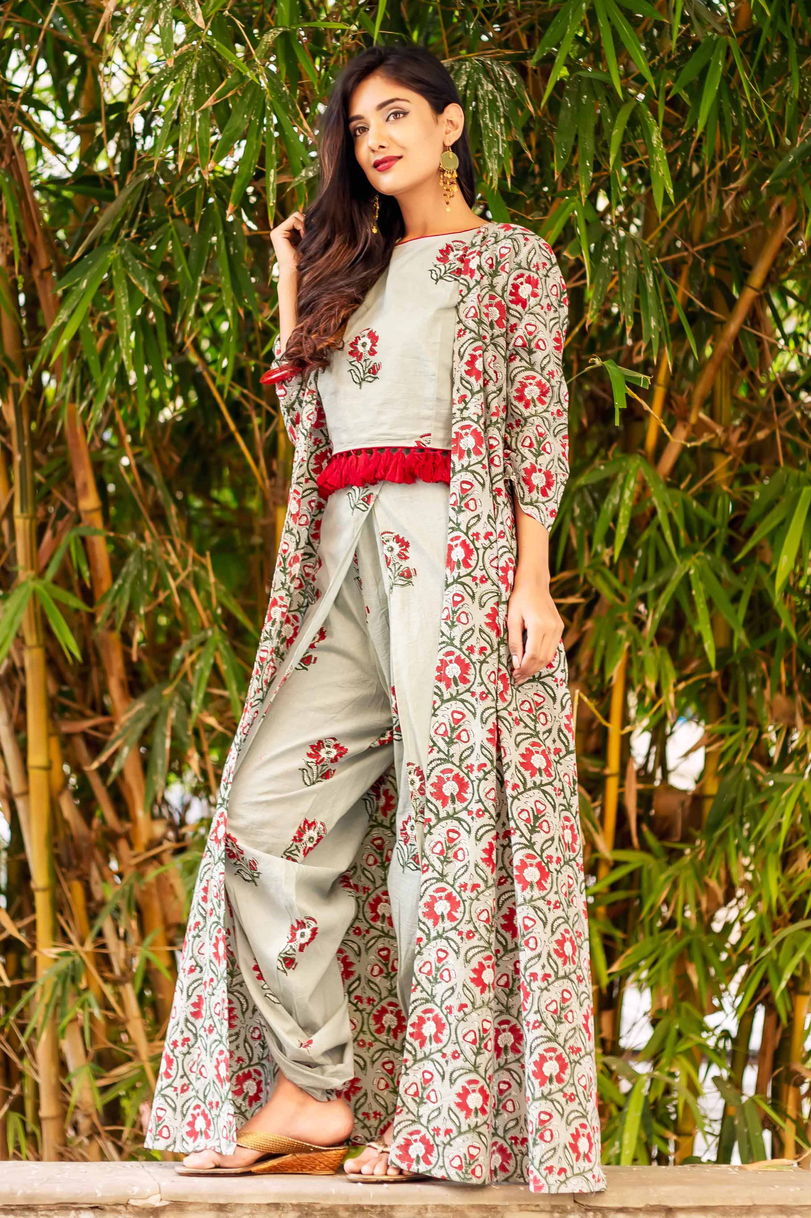 2084beae7ce Frosty Mint Block Printed Crop Top with Dhoti and Detachable Jacket ...