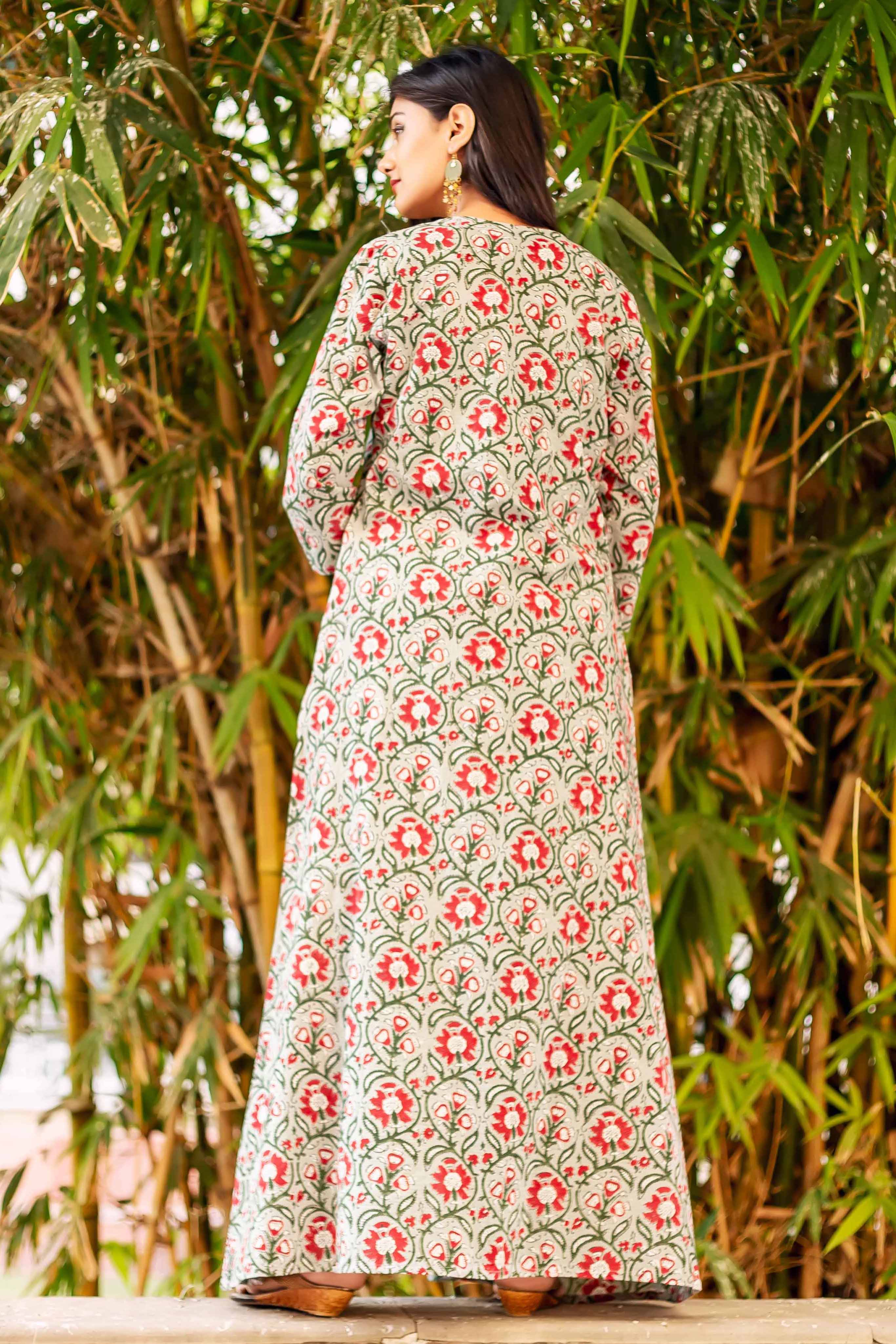 sleeveless hand block printed top with dhoti and jacket online for women