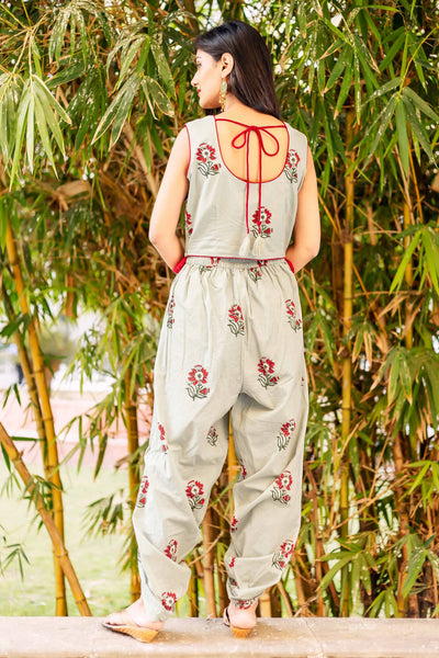 Hand block printed top with dhoti and jacket online for girls at best prices