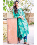 Round Neck Teal Blue Hand Block Printed Kurta Set