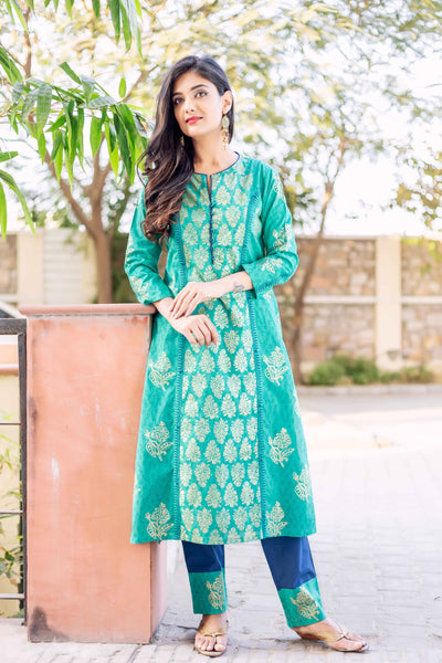 Teal and Indigo Block printed Suits for women with Chanderi Dupatta