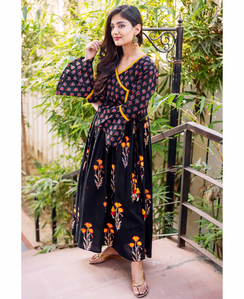 Black Cotton Printed Bell Sleeves Angrakha Dress Online