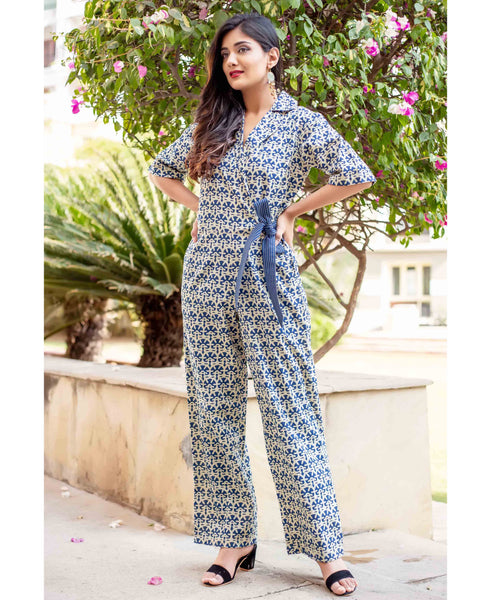 Indigo and Beige Hand Block Printed Jumpsuit with Attached Belt