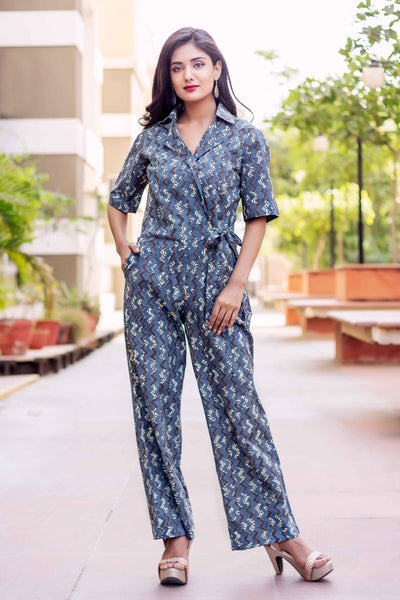 Shirt Collar Block Printed Long Jumpsuits for women with Jacket