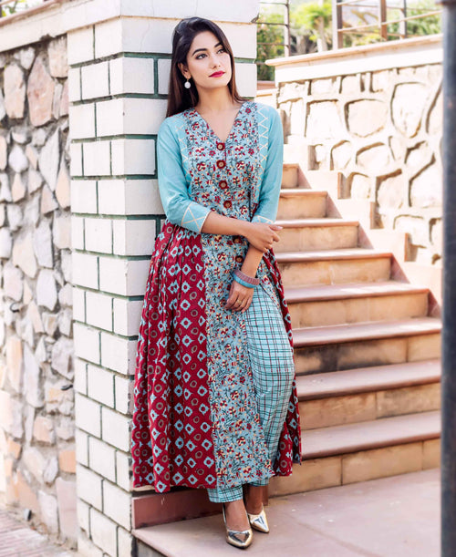 Front Slit Long Block Printed Kurta with Straight Pants