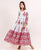White and Red Block Printed Anarkali Dress