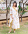 White and Yellow Angrakha Kurta with Printed Straight Pants