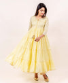 Yellow Tiered Cotton Kurta with Straight Printed Pants