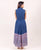 Solid Indigo Blue Pleated Dress with Printed Hemline