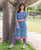 Blue and Purple Block Printed Kurta with Straight Pants