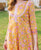 Yellow A-Cut Block Printed Kurta with Palazzo Pants
