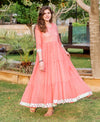 Peach Kota Doriya Tiered Long Dress