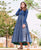 Indigo and WhiteHand Block Printed Flared Long Dress