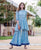 Blue Hand  Block Printed Short Kurta with Sharara