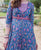 Blue and Purple Block Printed Long Kurta with Straight Cotton Pants