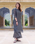 Chanderi Grey Block Printed Kurta