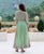 Mint Green Chiffon Anarkali Dress with Solid Pants