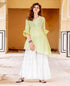 Lime and White Asymmetrical Kurta with Palazzo