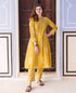 Yellow and White Block Printed Kurta