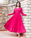 Fuchsia Long Anarkali Kurta Set with Mirror Work